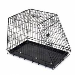 Juodas metalinis transportavimo narvas šuniui