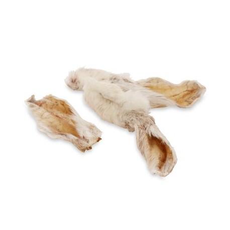 Natūralūs skanėstai triušių ausys su kailiu šunims